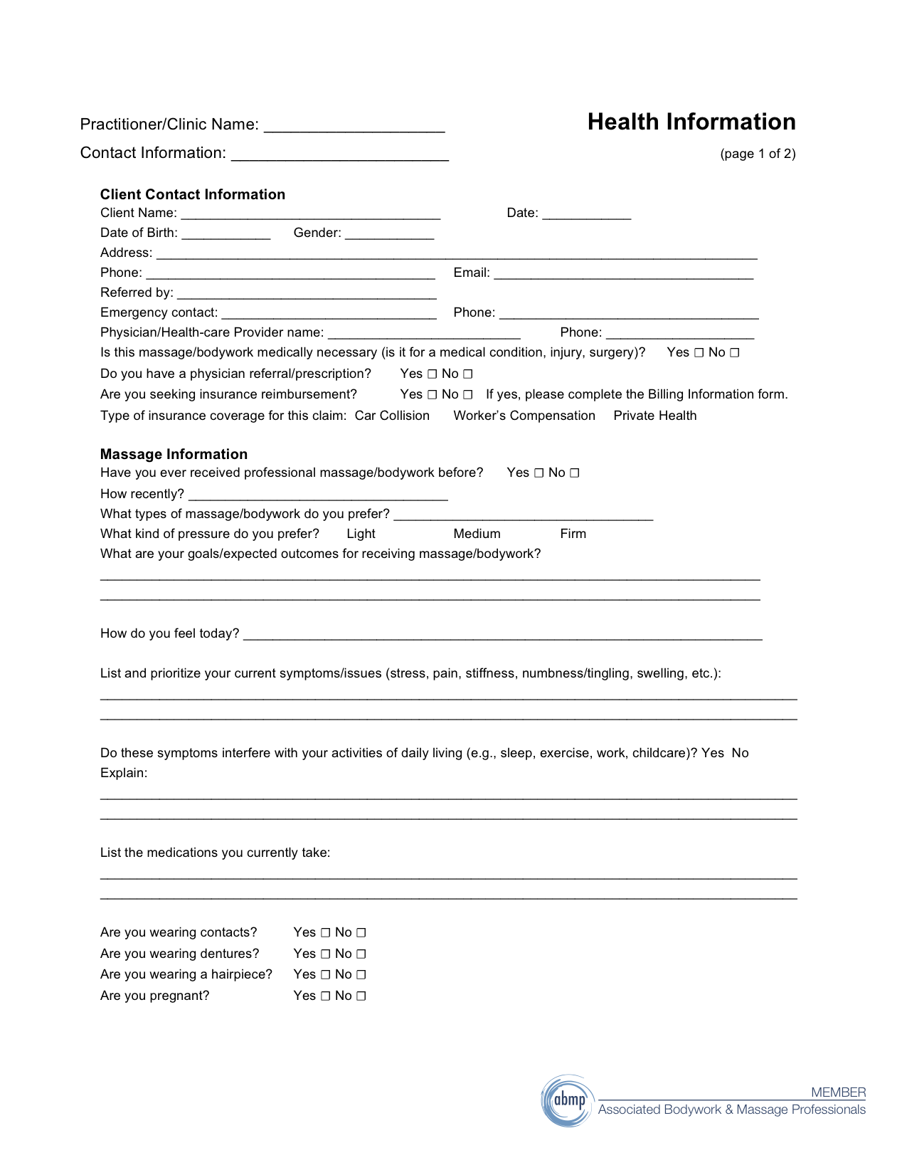 customer information form template – Customer Contact Information Form